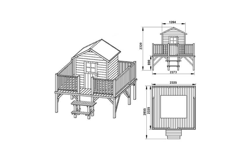 Drewniany domek ogrodowy dla dzieci - Mateusz- bez ślizgu