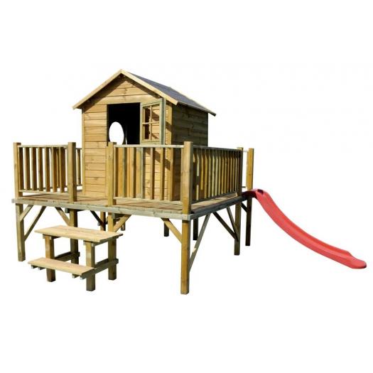 Drewniany domek ogrodowy dla dzieci - Maciej - ze ślizgiem