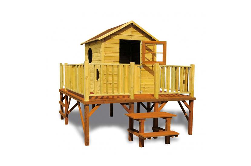 Drewniany domek ogrodowy dla dzieci - Mateusz - ze ślizgiem