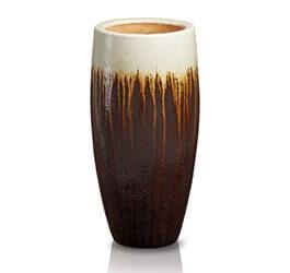 Ekskluzywna donica szkliwiona w kształcie cygara; średnica 37 cm; wysokość 98 cm