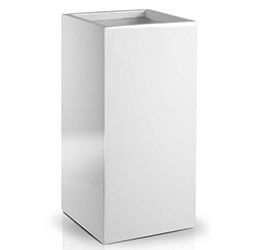 Donica Fiberglass High square white 40 x 80 cm