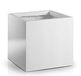 Donica Fiberglas square white, 31x31cm