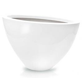 Donica Fiberglas oval white, średnica 55 cm x 28 cm, wysokość 35 cm
