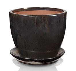 Klasyczna donica szkliwiona o okrągłej podstawie - czarna; średnica 33 cm; wysokość 27 cm