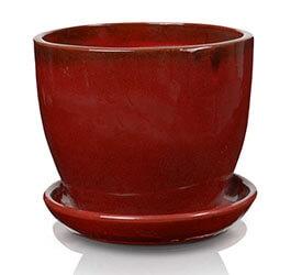 Klasyczna donica szkliwiona o okrągłej podstawie - czerwona; średnica 50 cm; wysokość 43 cm