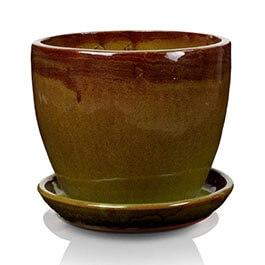 Klasyczna donica szkliwiona o okrągłej podstawie - zielona; średnica 50 cm; wysokość 43 cm