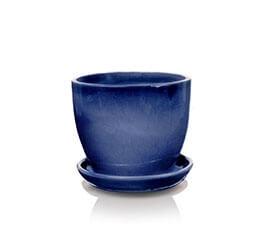 Klasyczna donica szkliwiona o okrągłej podstawie -  kobalt; średnica 41 cm; wysokość 34 cm