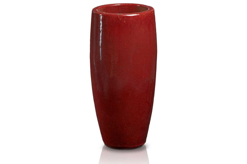 Ekskluzywna donica szkliwiona w kształcie cygara; średnica 43 cm; wysokość 120 cm