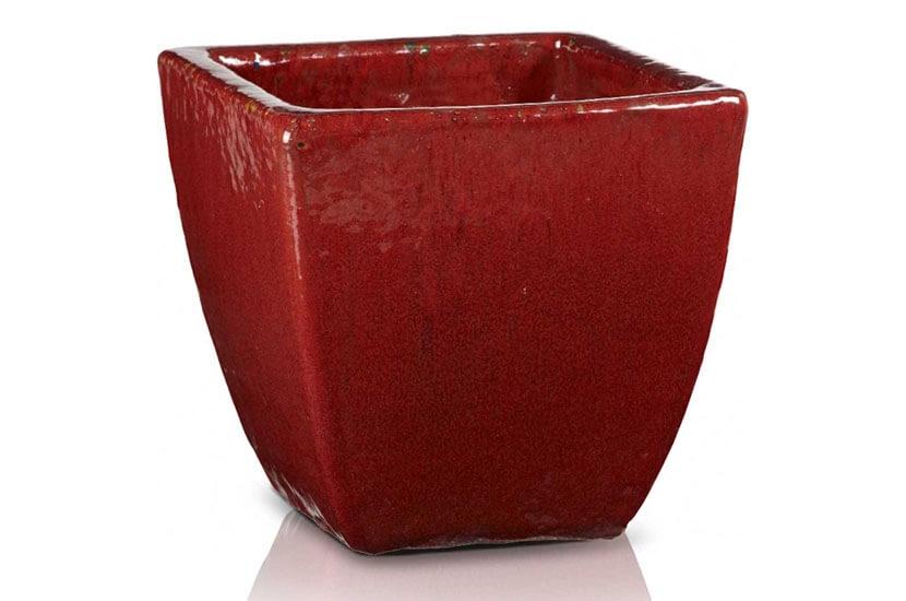 Donica szkliwiona o podstawie kwadratu; średnica 31 cm; wysokość 30 cm