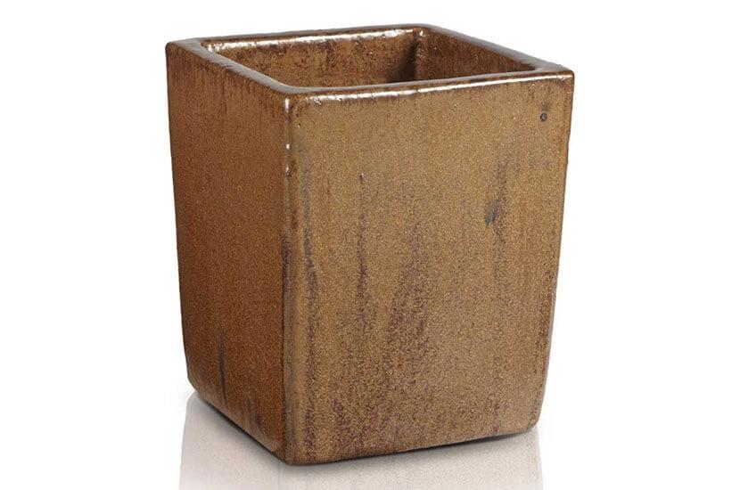Donica szkliwiona o kwadratowej podstawie; średnica 25 cm; wysokość 30 cm