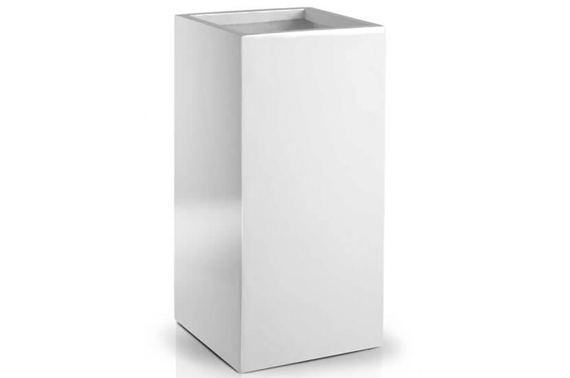 Donica Fiberglass High square white 34 x 70 cm