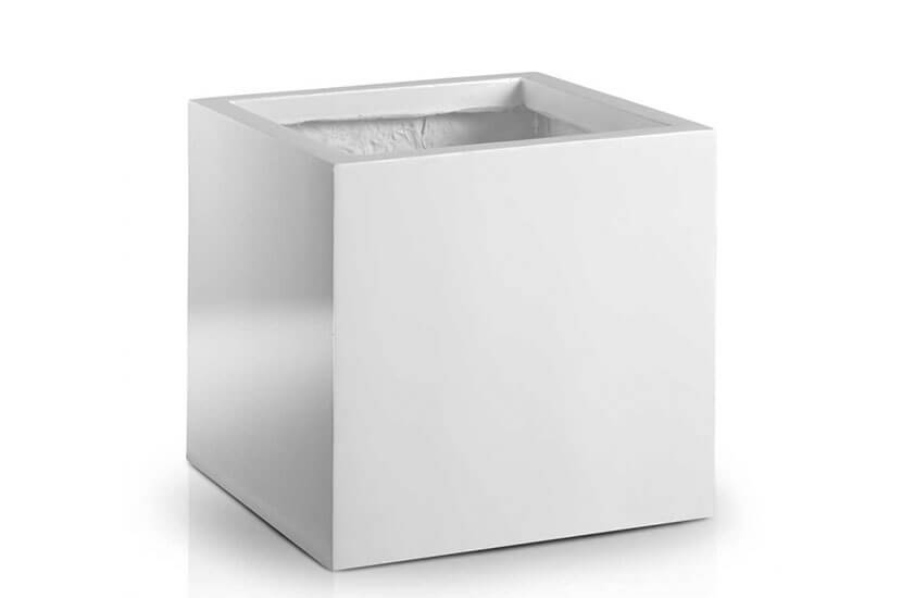 Donica Fiberglas square white, 40x40 cm