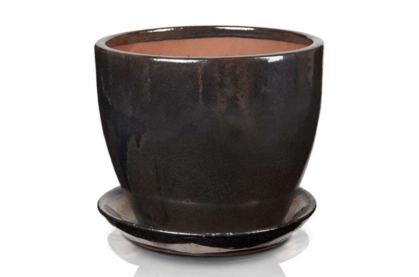 Klasyczna donica szkliwiona o okrągłej podstawie - czarna ; średnica 23 cm; wysokość 20 cm