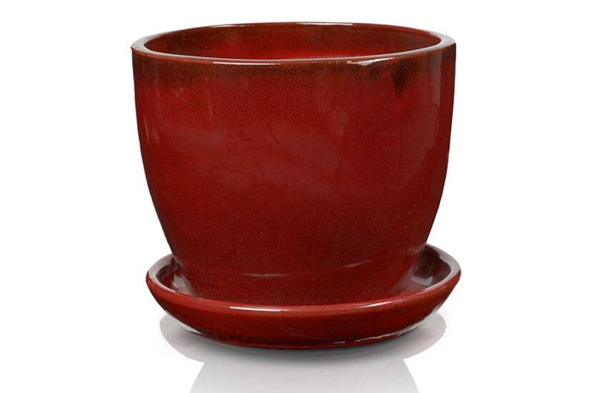 Klasyczna donica szkliwiona o okrągłej podstawie - czerwona; średnica 33 cm; wysokość 27 cm