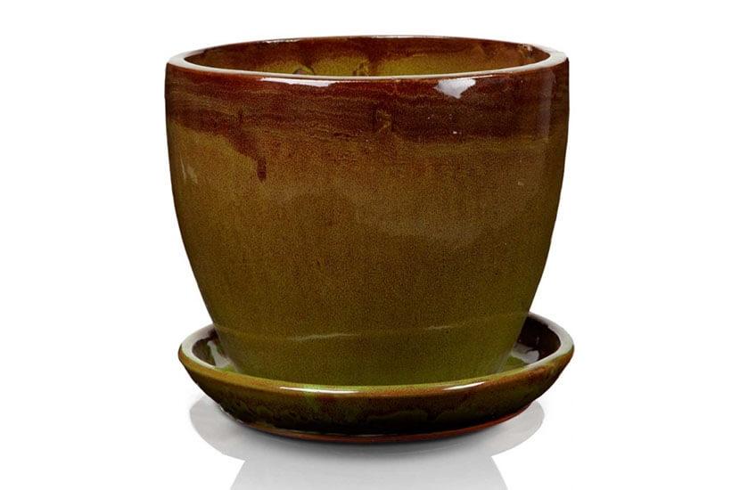 Klasyczna donica szkliwiona o okrągłej podstawie - zielona; średnica 33 cm; wysokość 27 cm