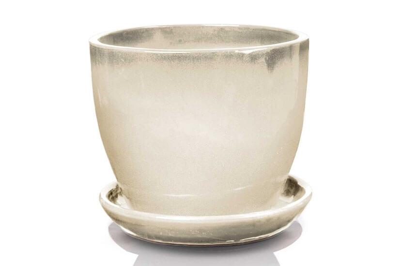 Klasyczna donica szkliwiona o okrągłej podstawie - biała; średnica 23 cm; wysokość 20 cm