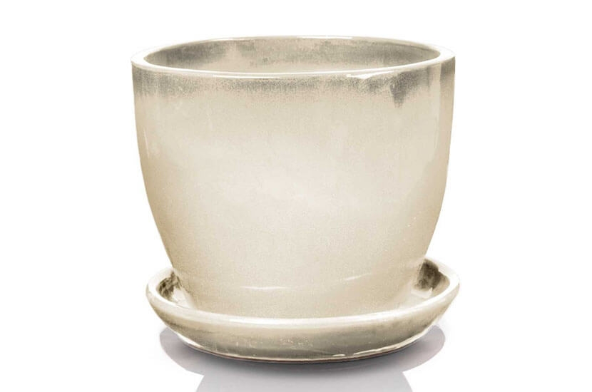 Klasyczna donica szkliwiona o okrągłej podstawie -  biała; średnica 41 cm; wysokość 34 cm