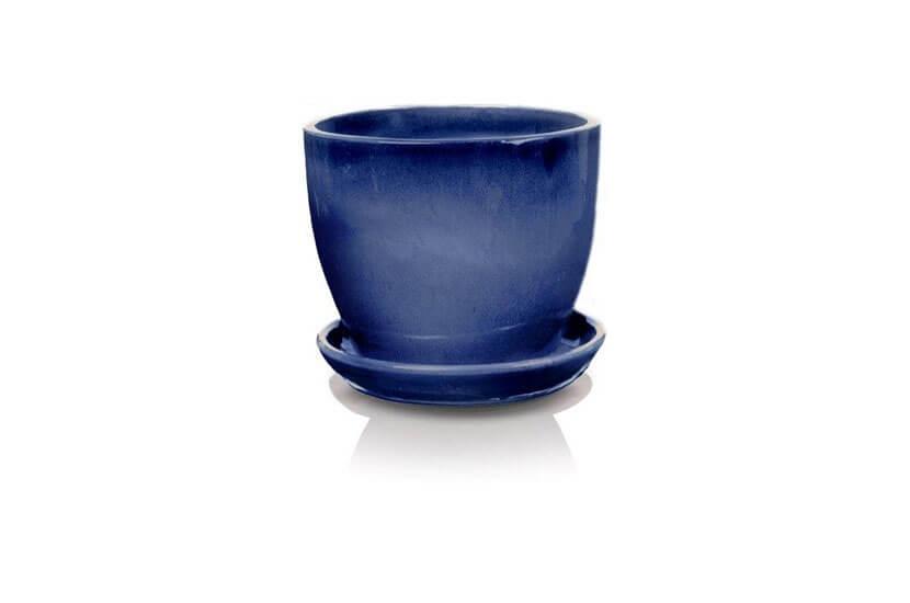 Klasyczna donica szkliwiona o okrągłej podstawie - kobalt; średnica 50 cm; wysokość 43 cm