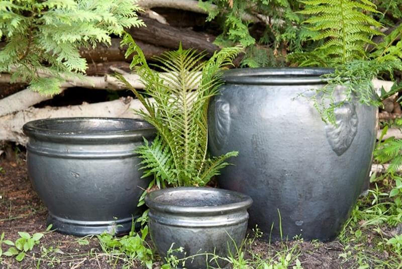 Donica ceramiczna Glazed Chalice 44 cm x 31 cm Grafit