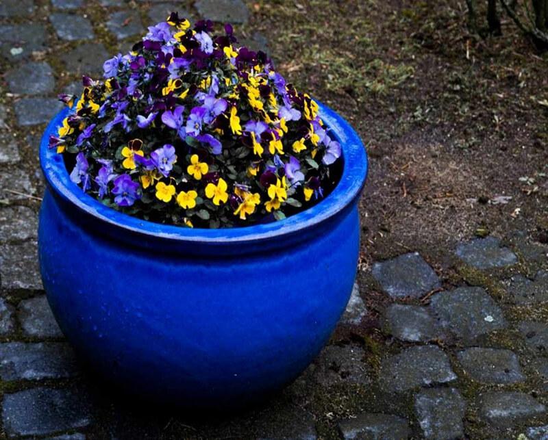Donica ceramiczna Glazed Round-Pot 28 cm x 16 cm Kobalt