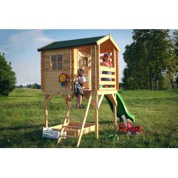 Drewniany domek dla dzieci Arek - piaskownica i ślizg!