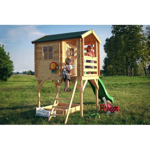 Drewniany domek dla dzieci Arek - piaskownica i ślizg