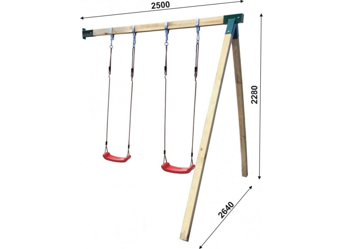 Drewniany domek Hipcio z dwoma ślizgami podwójną huśtawką z platformą i ślizgiem oraz ścianką wspinaczkową
