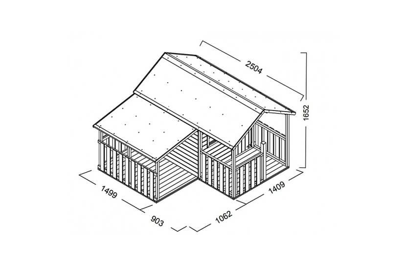 Drewniany domek ogrodowy dla dzieci - Biedronka z garażem