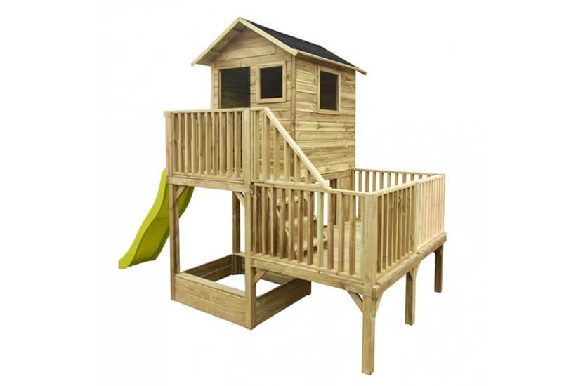 Drewniany domek ogrodowy dla dzieci - Hipcio z długim ślizgiem