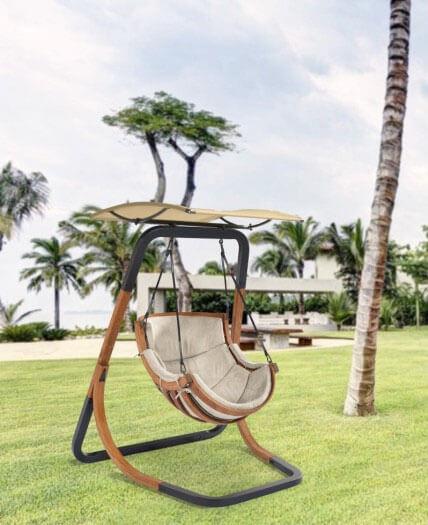 Fotel Alpha Beżowy - bujak ogrodowy