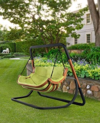 Podwójny Fotel Alpha Zielony - bujak ogrodowy