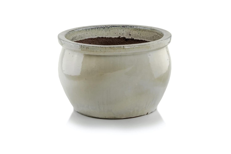 Donica ceramiczna Glazed Round-Pot, Krem, komplet trzy sztuki