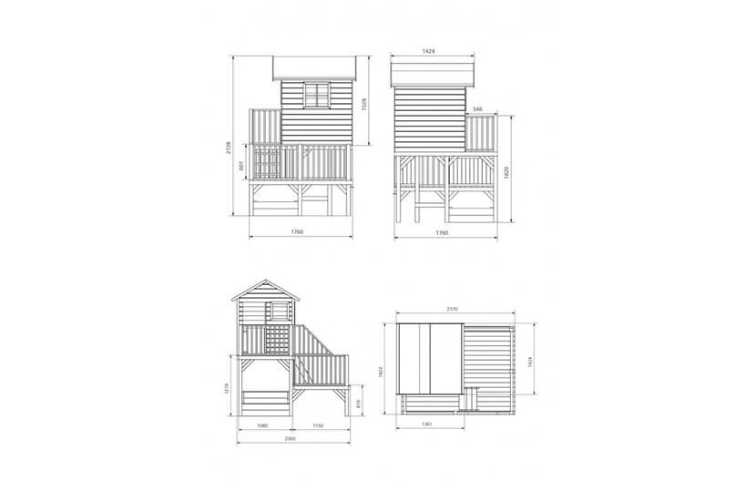 Drewniany domek ogrodowy dla dzieci - Hipcio z krótkim ślizgiem