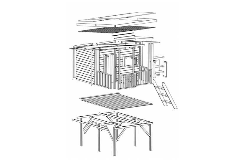 Drewniany domek ogrodowy dla dzieci - Robcio + ścianka