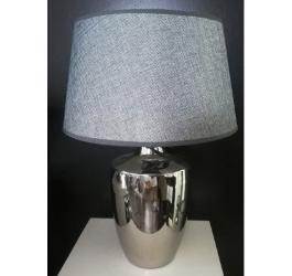 LAMPA SREBRNA Z SZARYM ABAŻUREM 35 cm