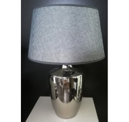 LAMPA SREBRNA Z SZARYM ABAŻUREM 30 cm