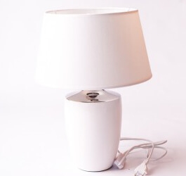 LAMPA BIAŁO SREBRNA Z BIAŁYM ABAŻUREM 25 cm
