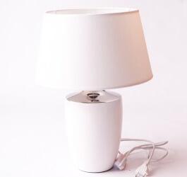 LAMPA BIAŁO SREBRNA Z BIAŁYM ABAŻUREM 45 cm