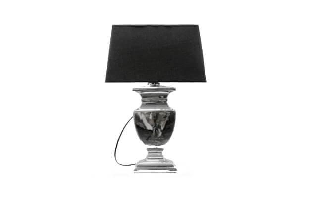 LAMPA SREBRNA Z CZARNYM ABAŻUREM 53 cm