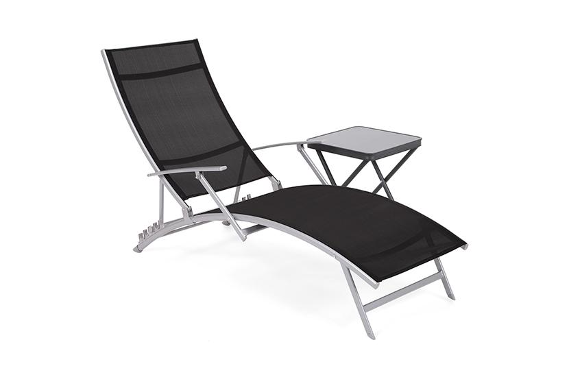 Leżak ogrodowy metalowy Lumba Silver / Black ze stolikiem