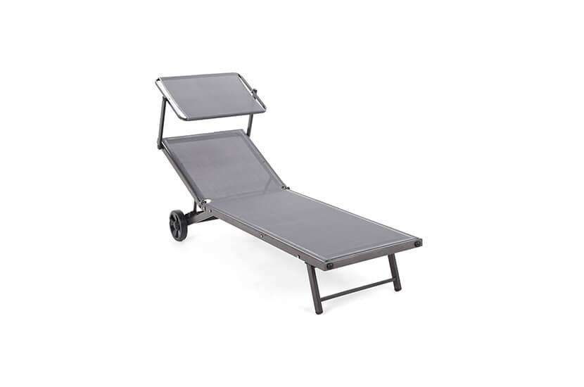 Leżak ogrodowy z daszkiem Siklawa Grey