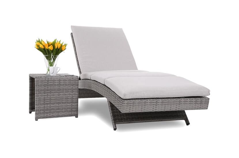 Leżak ogrodowy Manhattan Grey / Light Grey ze stolikiem