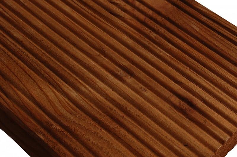 Deska tarasowa ryflowana 25 x 145 x 2400 mm ( Modrzew ) Impregnowana Brąz - klasa AB