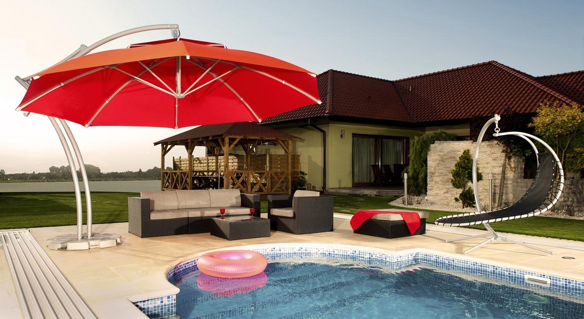 Parasol ogrodowy Safari 420 cm naturalny