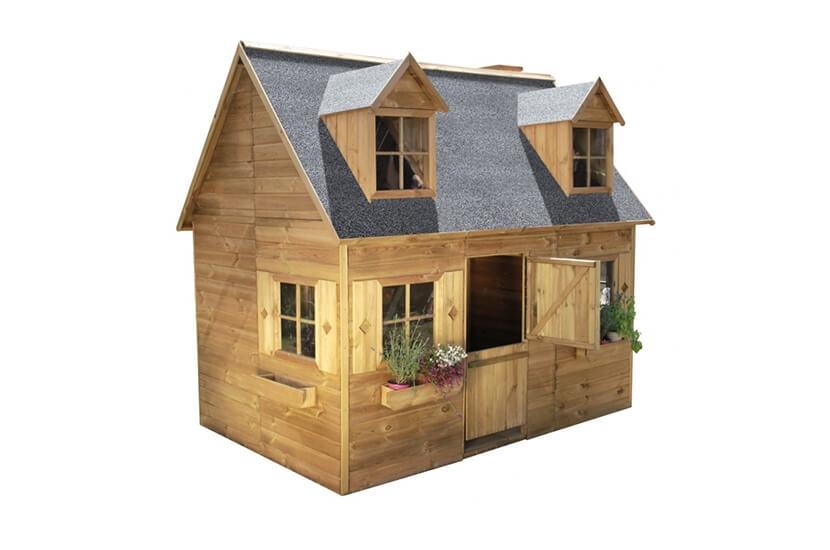 Piętrowy drewniany domek ogrodowy dla dzieci - Jadzia