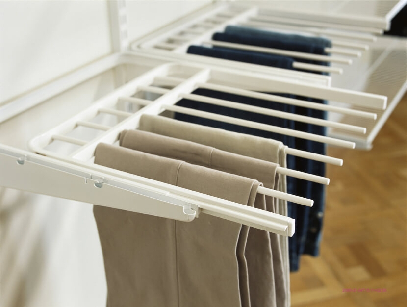 Wieszak na spodnie 60 Elfa biały/platinum - 32x437x600 mm