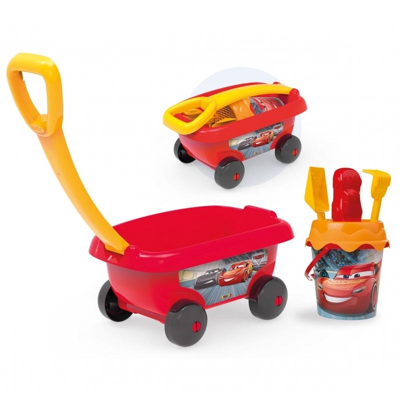 Smoby Wózek Taczka z wiaderkiem i akcesoriami do piasku Auta 3