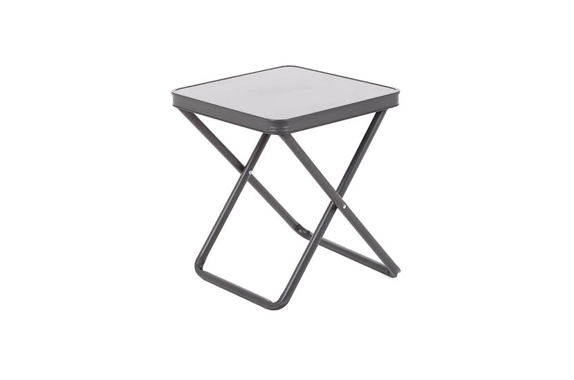 Leżak ogrodowy metalowy Lumba Silver / Taupe ze stolikiem